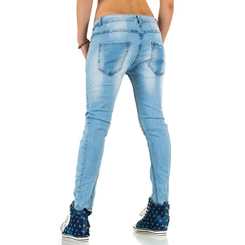 Damen Jeans Hose Used Look Hüfthose Jeanshose Hüftjeans Boyfriend Röhrenhose Skinny Slim Fit Blau Blau