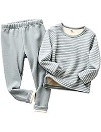 Niños Interior Ropa Conjunto Unisex Moda Color Sólido Manga Larga Tops + Pantalones Trajes Comodo Cuello Redondo Stretch Indoor Cálido Ropa 2 Piezas 5 Colores