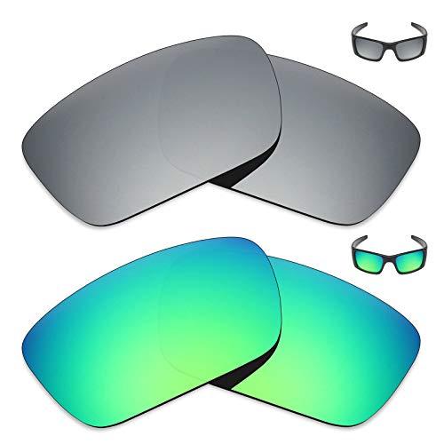 MRY 2Paar Polarisierte Ersatz Linsen für Oakley Fuel Cell Sonnenbrille-Reichhaltige Option Farben, Silver Titanium & Emerald Green