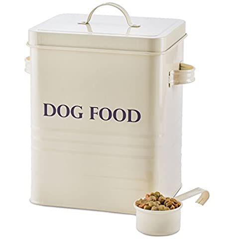 Andrew James Dog Food And Treats Storage Canister Vintage Classic Cream - 2.5kg Capacity