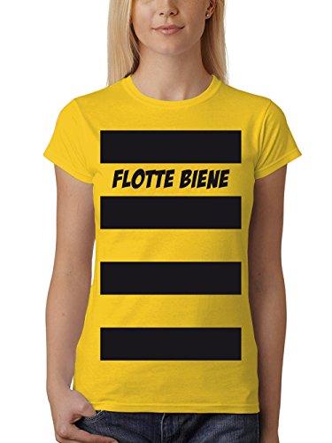 clothinx Damen T-Shirt Unisex Karneval Flotte Biene Gelb Größe 3XL