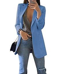 Traje De Mujer Ropa para Trabajar Solapa Manga Larga Básica Blazers con Bolsillo