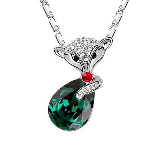 Collana con ciondolo a goccia con cristalli austriaci e Swarovski, motivo volpe-Collana in cristallo, Placcato oro, colore: verde, cod. YTS-91384