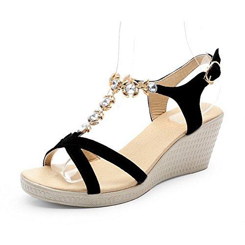 VogueZone009 Donna Plastica Punta Aperta Puro Tacco Medio Heeled-Sandals Nero