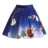 JYJM 2018 Frauen Weihnachten Santa 3D Print Flare Elastische Hohe Taille Cosplay Ballkleid Rock Rockabilly Kleid Partykleider Cocktailkleider GD6086 Oodji Ultra Damen Viskose-Kleid Basic
