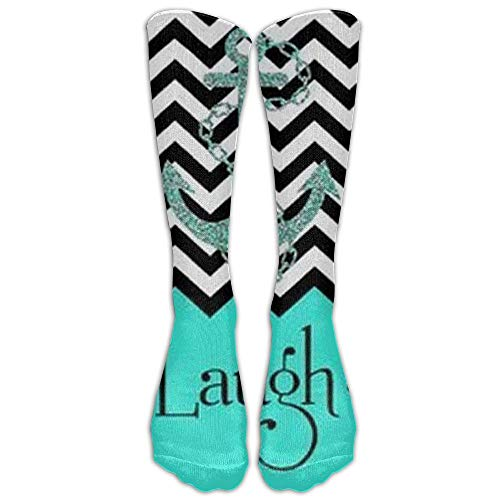 Yesliy Live Love Laugh In Turquoise Colorblock Chevron With Anchor Knee High Graduated Compression socken For daherren And herren - Best Medical, Nursing, Travel & Flight socken - Running & Fitness