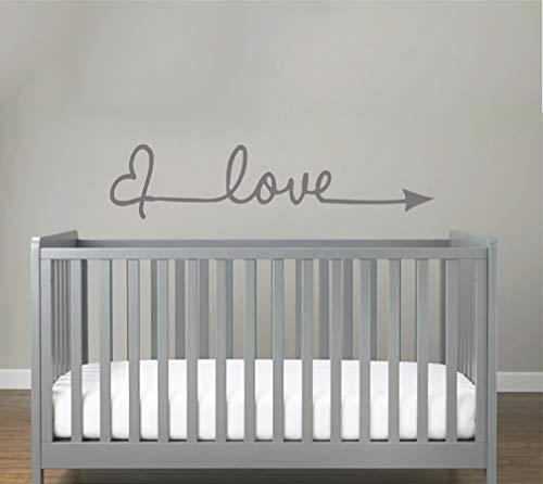 Love Herz Sticker Aufkleber Wandtattoo Wandaufkleber Wand Schlafzimmer Modern Selbstklebend Romantisch Liebe (Grau, S 57cm x 14cm)