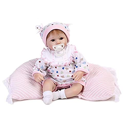 Nicery Reborn Baby Doll Soft Silicone Vinyl 18inch 45cm Magnetic Mouth Lifelike Boy Girl Toy White Bib Pillow Eyes Open A3UK