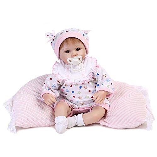 Nicery Neugeboren Baby Puppe Weich Silikon Vinyl 18inch 45cm Magnetisch Mund Naturgetreue Jungen Mädchen Spielzeug Weiß Lätzchen Kissen Eyes Open Reborn Doll A3DE - Puppen Für Mädchen 18
