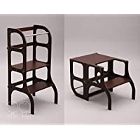 Learning tower/table / chair, all-in-one, Montessori kitchen helper step stool for toddlers - dark BROWN color/antique BRASS clasps