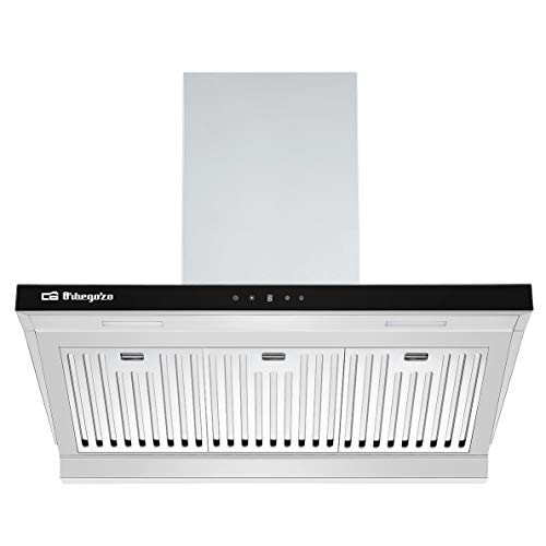 Orbegozo DS 63190 IN Hotte aspirante 90 cm, classe A, filtres en aluminium professionnels amovibles, extraction 636,2 m3/h, éclairage LED, 3 niveaux de puissance