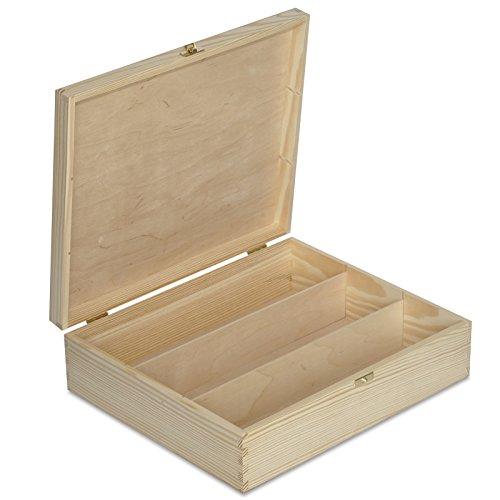 Creative Deco Weinkiste Holz Weinbox | für 3 Flasche | 35,1 x 30 x 10 cm | Holzkiste Holzbox mit Deckel Geschenke | Natürliches Kiefernholz | Perfekte für Decoupage, Lagerung, Dekoration