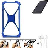 K-S-Trade Handyhülle für Shift Shift5.3 Bumper Schutzhülle Silikon Schutz Hülle Cover Case Silikoncase Silikonbumper TPU Softcase Smartphone, Blau (1x), Headphones