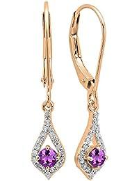 e2a89d1a4e00 Pendientes colgantes de oro rosa de 10 quilates con piedras preciosas y  diamantes blancos