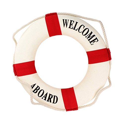 Rettungsring - TOOGOO(R) Willkommen an Bord Schaum Wasser Leben Rettungsring Ring Boot Wandbehang Hauptdekoration Rot 50cm