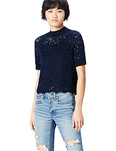 FIND Damen Bluse Lace Turtle Neck Blau (French Navy), 38 (Herstellergröße: Medium) (Lace French Top)