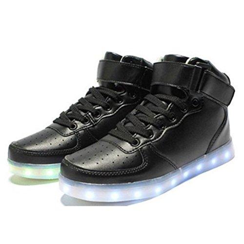 [Present:kleines Handtuch]JUNGLEST® Schwarz 7 Farbe Unisex LED-Beleuchtung Blink USB-Lade Turnschuh-Schuhe c27