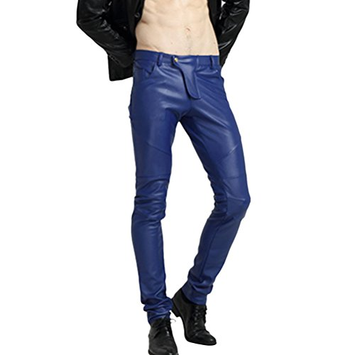 Zhuhaitf Hombre Fashion Pantalones pitillo de cuero PU Elastic Velvet Motorcycle Pants Multi Colors para Chosing Slim Fit