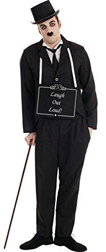 erdbeerloft - Herren Silent Stummfilm Star Komplett Kostüm Karneval , Schwarz, Größe L/XL (Charlie Chaplin Kostüm Kinder)