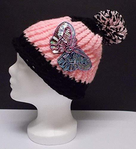 Häkelmütze, Schmetterling, Bommel, Pudelmütze, Mütze, Beanie, schwarz-rosa, Mütze gehäkelt, Strickmütze, Damenmütze, Hut, Wolle, Strick