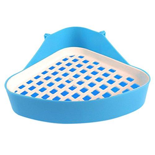 Jiyaru Haustier Pee Toilette Ecktoilette für Kleine Tier aus Kunststoff Blau (Katzentoilette Für Kaninchen Käfig)