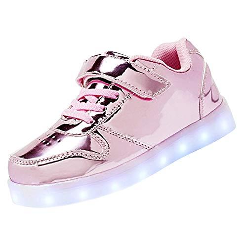 Kealux brillante notte usb caricare 7 colori allacciare accendere led scarpe basso top sneaker di sport con telecomando per bambini ragazzi ragazze-31(rosa)