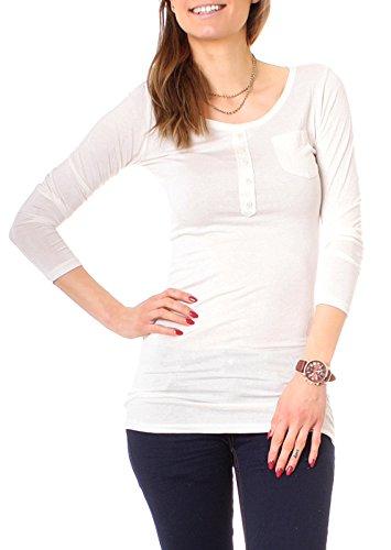 Easy Young Fashion Damen Longshirt Knopfleiste Slim Fit Elfenbein
