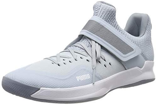Puma Rise Xt Netfit 2, Scarpe da Calcetto Indoor Unisex-Adulto, Grey Dawn Heather White/Tradewinds 02, 12 EU