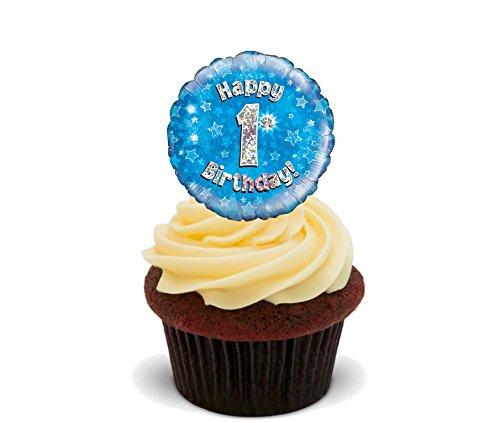 Made4You Happy 1st Birthday Boy, essbaren Kuchen Dekorationen, blau-Stand-Up Wafer Cupcake Topper, 12er-Pack (Happy Birthday Essbare Kuchen Bilder)