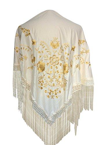 La Señorita Mantones bordados Flamenco Manton de Manila blanco oro