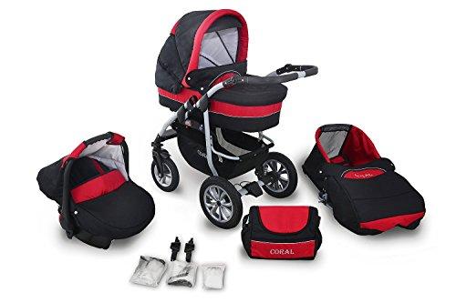 3 in 1 Kombikinderwagen Komplettset Coral - inkl. Kinderwagen, Babyschale und Sportwagen Aufsatz - 3. Schwarz-Rot