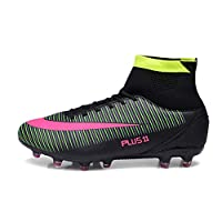 V-Do Football Boots for Men Breathable Soccer Shoes High-Top Lace-Up Trainers Black