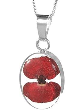 Shrieking Violet: Set aus Ohrhängern und Oval-Anhänger inklusive Kette mit echten Mohnblüten, Sterling-Silber...
