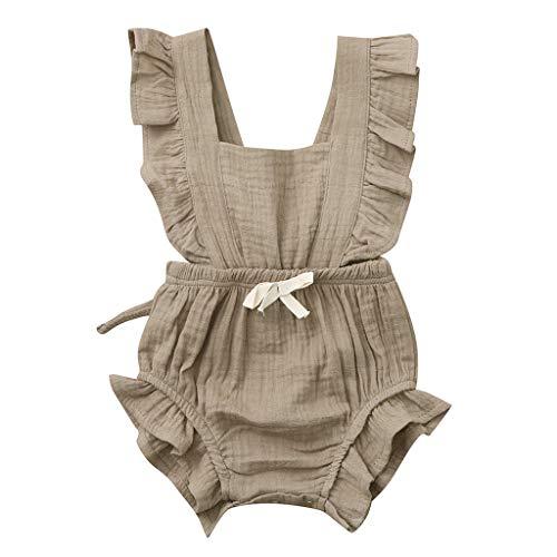 DEELIN Neugeborenes Baby Overall Strampler Bodysuit Mädchen Kleidung Set Sommer Farbe solide Rüschen Backcross Outfits
