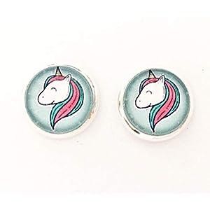 Einhorn Kinder Ohrclips 10mm Motiv Glas-Cabochon Ohrringe handgefertigt by Schmuckphantasien in silber unicorn handmade…