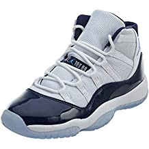 NIKE Air Jordan 11 Retro Chaussures pour Hommes en Tissu Blanc et Cuir Bleu 378038-