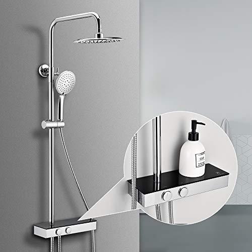 Homelody colonna doccia con soffione set doccia a 3 getti con mensola, senza termostato, in acciaio inox
