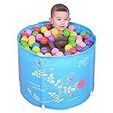 Inflatable Bath Home Badewannen für Kinder Faltbad Badewanne Dicker Kunststoff Badefass Babywanne (Farbe: Blau, Größe: 58 cm / 22,8 Zoll)