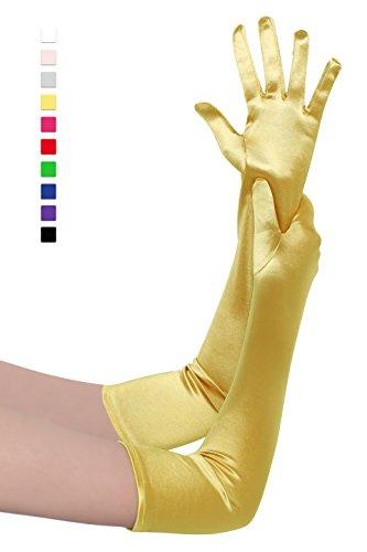 BABEYOND Damen Handschuhe Satin Classic Opera Fest Party Audrey Hepburn Handschuhe 1920er Stil Handschuhe Elastisch Erwachsene Größe Ellenbogen bis Handgelenk Länge 52/55cm (Lang Glatt 52cm / - Gelbe Kostüm Handschuhe