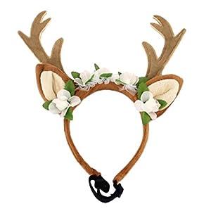 MagiDeal Serre-tête pour Chien Chapeau de Chien Noël Ajustable Forme en Bois de Cerf Décoration pour Animaux Halloween Noël