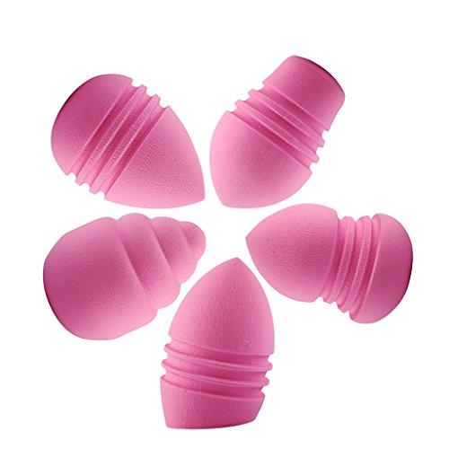 MagiDeal 5pcs Houppettes à Poudre Beauté Applicateur Fond de Teint Poudre Blender Liquide Eponge Bouffée en Latex - Rose, Taille unique