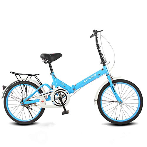 20 Zoll Faltrad Single Speed   Stoßdämpfer Mini Ultra Light Portable,Blue