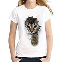 GRMO Women Fashion Cat Summer Short Sleeve Round Neck 3D Print Blouse T-Shirt Top 3 3XS