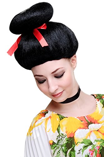 WIG ME UP Karneval Fasching Perücke Geisha Asien Japan Cosplay China Girl Schwarz 2120-P103 Perrücke