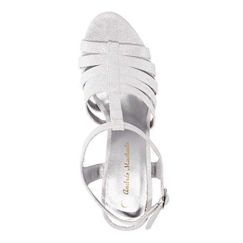 Andres Machado - AM5193 - T-Bar-Plateausandalen in Schlange Gold AM5193 SCHLANGE SILBER