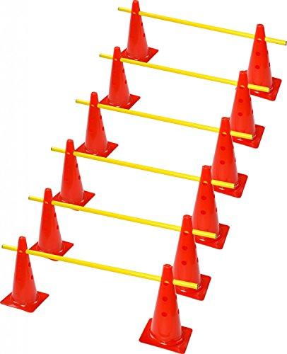 RHINOS sports Steckhürdenset, 12 Multifunktionskegel (30 cm) inkl. 6 Trainingsstangen (1 m)