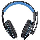 Morehappy7 USB-Gaming-Headset, Komfortabler Over-Ear-Kopfhörer mit Mikrofon, Leder, verkabelt, Stereo-Headset für PS3, PS4, Spiele, Sony PC, Skype, Laptop (USB), schwarz und blau, Free Size