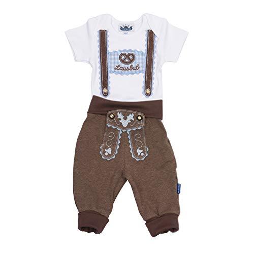 Trachten Set für Lausbuben bestehend aus Baby Body mit kurzem Arm und Applikation Hosenträger und Baby Jogginghose Lederhosen Look, braun - EIN tolles Geschenk