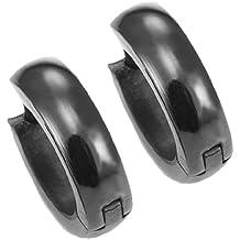 Pendientes de aro negro para hombre del acero inoxidable de 10 mm con bisagras (con