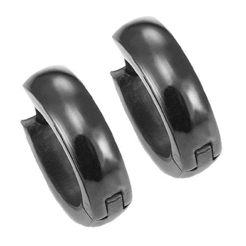 Pendientes de aro negro para hombre del acero inoxidable de 10 mm con bisagras (con caja de regalo de marca)